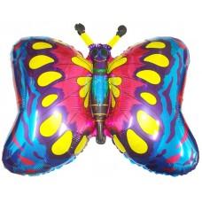 Фольгированный воздушный шар-фигура Бабочка синий (89 см)