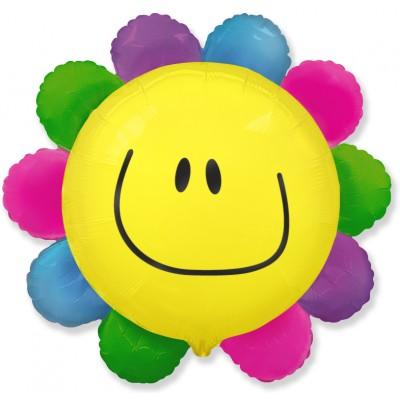 Фольгированный воздушный шар-фигура Цветок радужный (76 см)