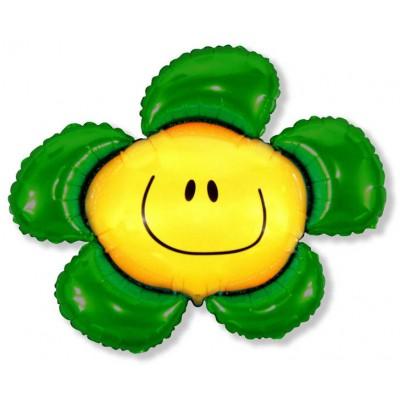 Фольгированный воздушный шар-фигура Солнечная улыбка зеленый (104 см)