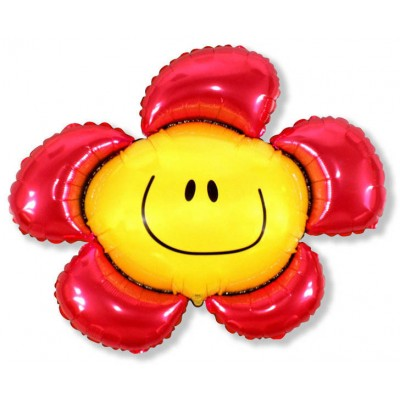 Фольгированный воздушный шар-фигура Солнечная улыбка красный (104 см)