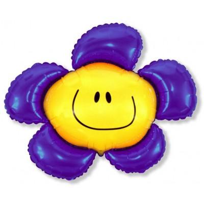 Фольгированный воздушный шар-фигура Солнечная улыбка фиолетовый (104 см)