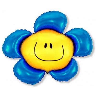 Фольгированный воздушный шар-фигура Солнечная улыбка синий (104 см)