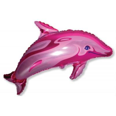Фольгированный воздушный шар-фигура Дельфин фигурный фуше (94 см)