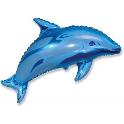 Фольгированный воздушный шар-фигура Дельфин фигурный синий (94 см)