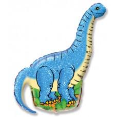 Фольгированный воздушный шар-фигура Динозавр диплодок синий (109 см)