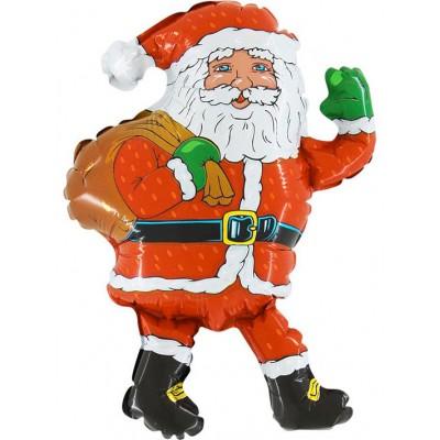Фольгированный воздушный шар-фигура Дед мороз с мешком красный (81 см)