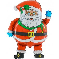 Фольгированный воздушный шар-фигура Дед Мороз в очках красный (74 см)