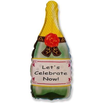 Фольгированный воздушный шар-фигура Бутылка Шампанское (84 см)