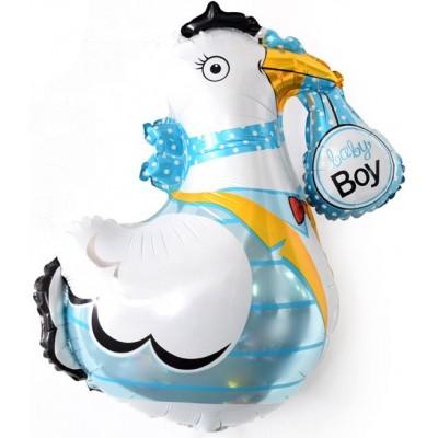 Фольгированный воздушный шар-фигура Аист принес мальчика (91 см)