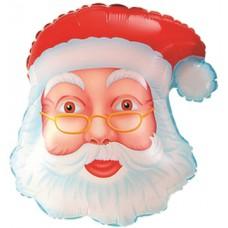 Фольгированный воздушный шар-фигура Голова Дед Мороз сказочник (48 см)