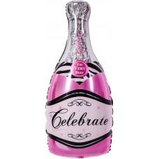 Фольгированный воздушный шар-фигура Бутылка Шампанское розовый (99 см)