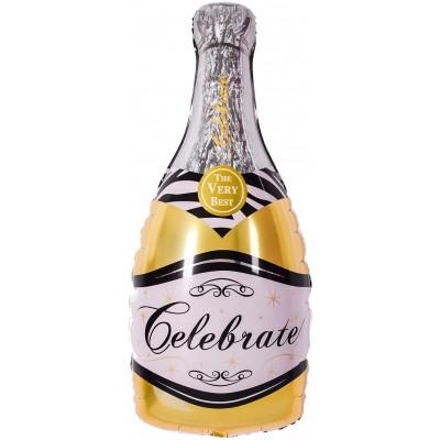 Фольгированный воздушный шар-фигура Бутылка Шампанское золото (99 см)