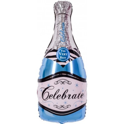 Фольгированный воздушный шар-фигура Бутылка шампанского голубой (99 см)