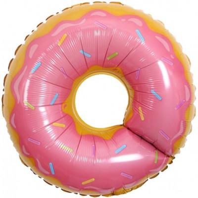 Фольгированный воздушный шар-фигура Пончик розовый (69 см)