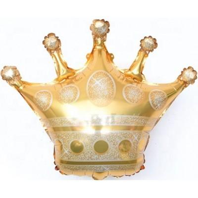 Фольгированный воздушный шар-фигура Корона золото (71 см)