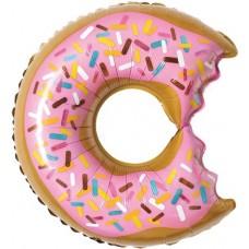Фольгированный воздушный шар-фигура Пончик (надкусанный) розовый (66 см)