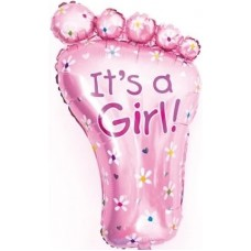 Фольгированный воздушный шар-фигура Ножка малышки розовый (76 см)