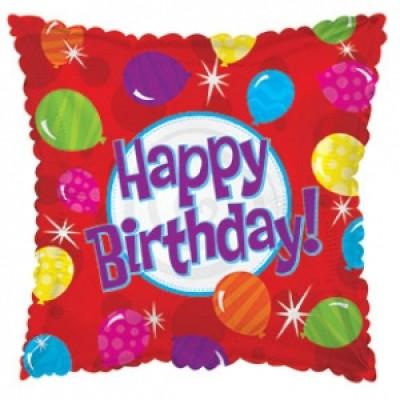 Фольгированный воздушный шар Квадрат С Днем рождения (яркие шары) красный (46 см)