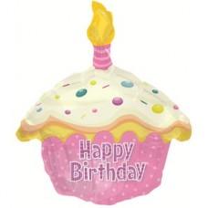 Фольгированный воздушный шар-фигура Кекс с Днем рождения розовый (51 см)