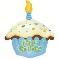 Фольгированный воздушный шар-фигура Кекс с Днем рождения голубой (51 см)