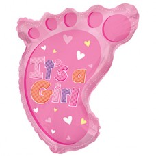 Фольгированный воздушный шар-фигура Ножка малышки (сердечки) розовый (61 см)