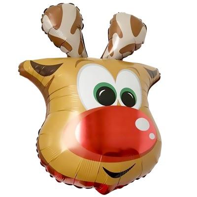 Фольгированный воздушный шар-фигура голова Веселый Олень (66 см)