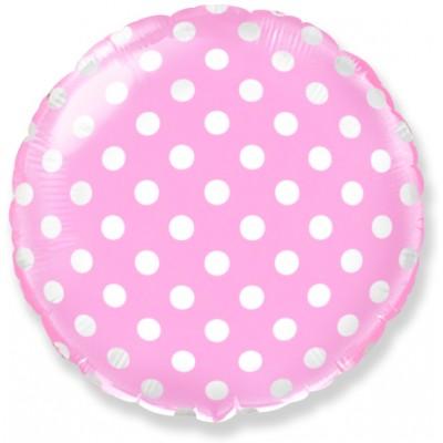 Фольгированный воздушный шар-круг Точки розовый (46 см)