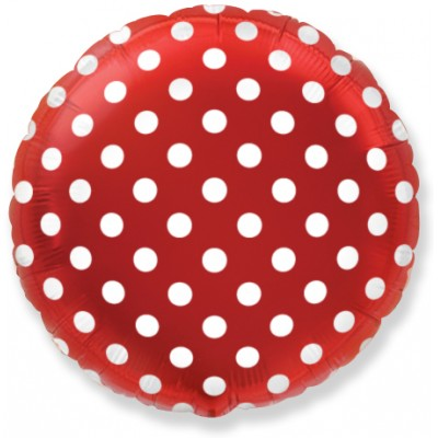 Фольгированный воздушный шар-круг Белые точки красный (46 см)