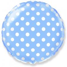 Фольгированный воздушный шар-круг Белые точки голубой (46 см)