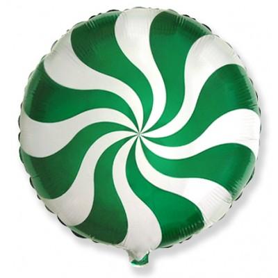 Фольгированный воздушный шар-круг Леденец зеленый (46 см)