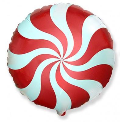Фольгированный воздушный шар-круг Леденец красный (46 см)
