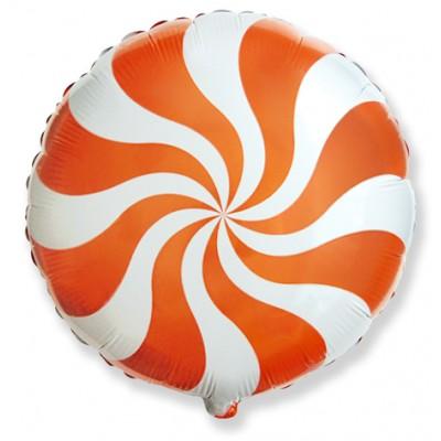 Фольгированный воздушный шар-круг Леденец оранжевый (46 см)
