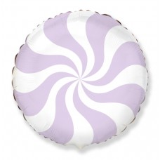 Фольгированный воздушный шар-круг Леденец сиреневый (46 см)