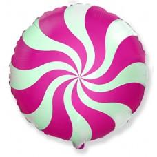 Фольгированный воздушный шар-круг Леденец фуше (46 см)