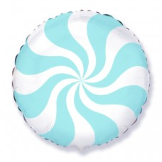 Фольгированный воздушный шар-круг Леденец голубой (46 см)