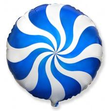 Фольгированный воздушный шар-круг Леденец синий (46 см)
