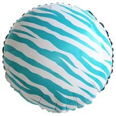Фольгированный воздушный шар-круг Окрас зебры голубой (46 см)