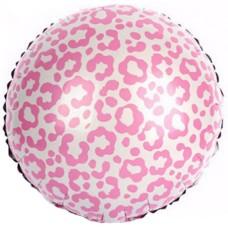 Фольгированный воздушный шар-круг Окрас леопарда розовый (46 см)