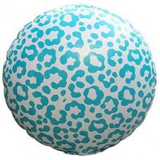 Фольгированный воздушный шар-круг Окрас леопарда голубой (46 см)