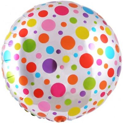 Фольгированный воздушный шар-круг Разноцветные точки серебро (46 см)