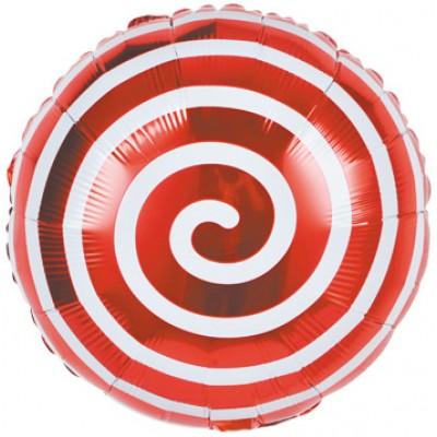 Фольгированный воздушный шар-круг Леденец спираль красный (46 см)