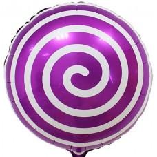 Фольгированный воздушный шар-круг Леденец спираль фиолетовый (46 см)
