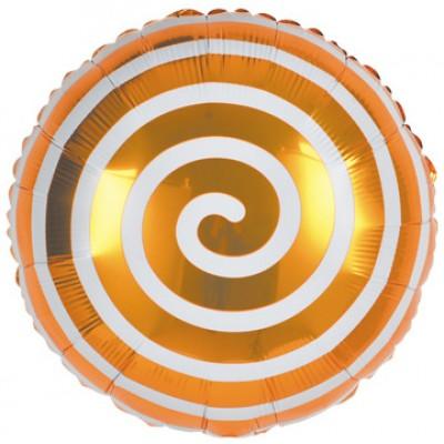Фольгированный воздушный шар-круг Леденец спираль оранжевый (46 см)