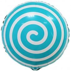 Фольгированный воздушный шар-круг Леденец спираль голубой (46 см)