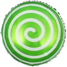 Фольгированный воздушный шар-круг Леденец спираль зеленый (46 см)