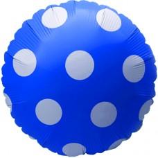Фольгированный воздушный шар-круг Большие точки синий (46 см)