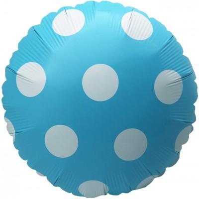 Фольгированный воздушный шар-круг Большие точки голубой (46 см)
