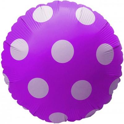 Фольгированный воздушный шар-круг Большие точки фиолетовый (46 см)