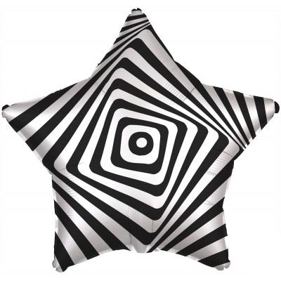 Фольгированный воздушный шар-звезда Иллюзия черно-белый (53 см)