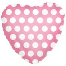 Фольгированный воздушный шар-сердце В белый горошек розовый (46 см)
